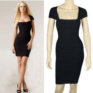 Donner® Women's Vest Mini Bandage Dress Celebrity Designer Cocktail Evening Bodycon Dress (Large, Black)