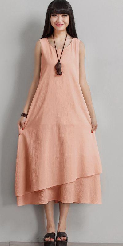 6d5235931fb4ab Vintage Sleeveless Cotton Maxi Dresses Women Casual Clothes Q1771 ...