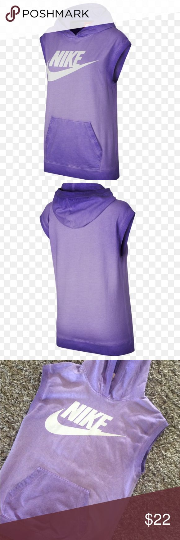 Nike Solstice sleeveless pullover hoodie purple Women's Nike Solstice sleeveless pullover hoodie in purple. Size Small. NWOT. So cute! Perfect, like new condition-never worn. Last picture for size/fit reference only (this item is PURPLE). Nike Tops Sweatshirts & Hoodies