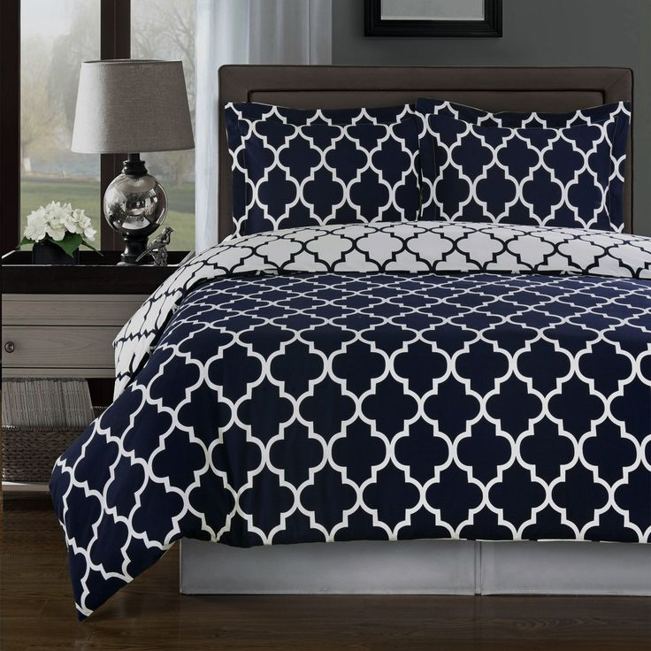 Modern Moroccan Quatrefoil Navy Blue And White 3pc Cotton