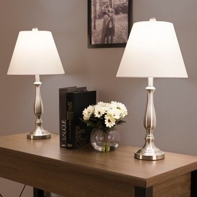 Table Lamps Traditional Set of 2 (2 Led bulbs included) Brushed Steel - Yorkshire Home, Brushed Nickel