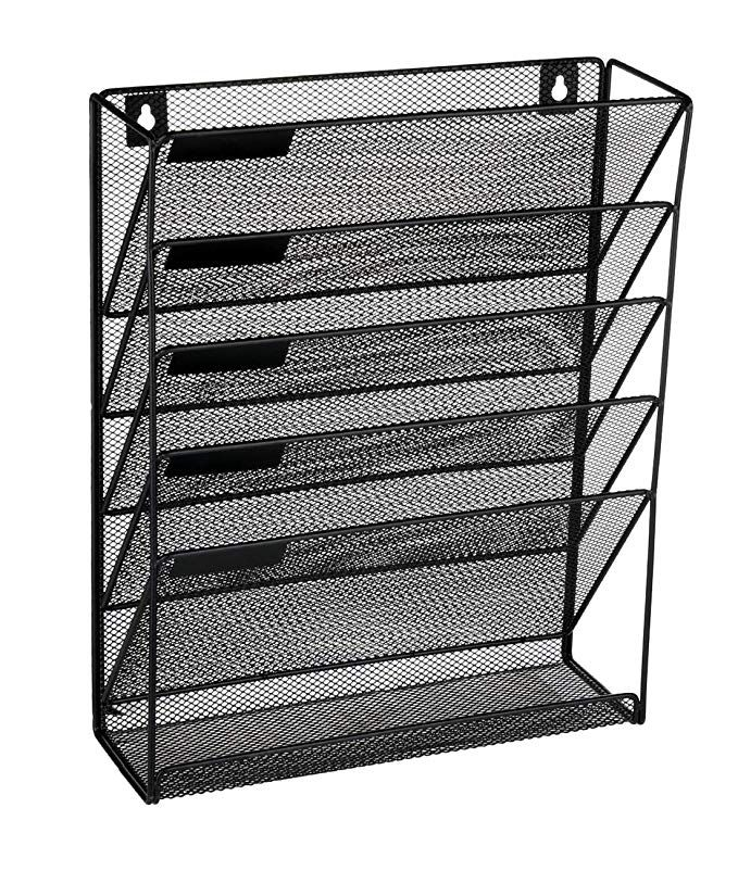 Denozer 6 Tier Wall Mount File Holder Organizer Hanging Magazine
