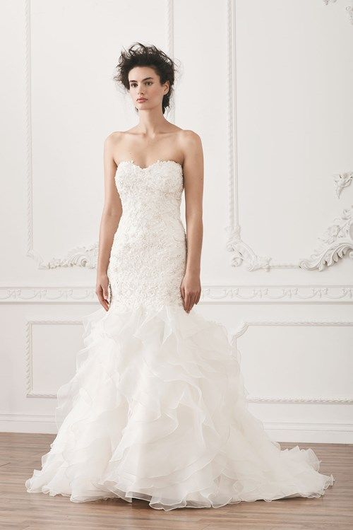 Henry Roth Strapless Fit and Flare in Beaded Lace | KleinfeldBridal.com