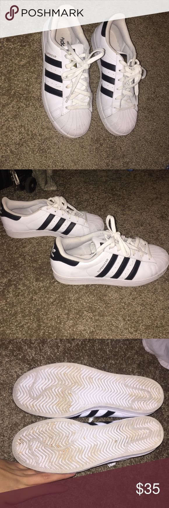 Adidas super stars Women's size 7 1/2. Good condition hardly ever worn Adidas Shoes Sneakers