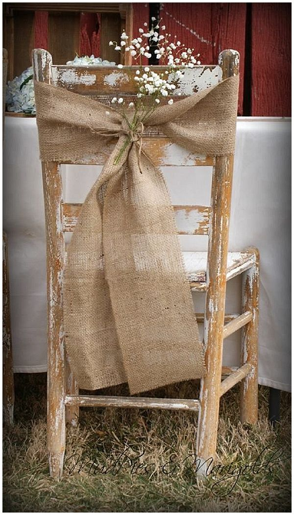 40+ Hessian Wedding Ideas - sometime bows are a fussy, tie a piece of hessian fabric around the chair back and leave the long lengths hanging down #weddingideas #hessianwedding #rusticweddingideas