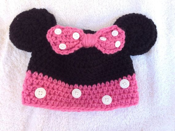 Minnie Mouse hat  size 36 months by CopperfieldCrochet on Etsy, $20.00