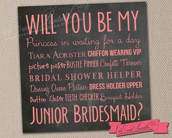 Will You Be My Junior Bridesmaid Card Instant Download Printable File Pink Chalkboard Jr