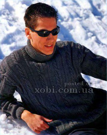 серый мужской свитер спицами