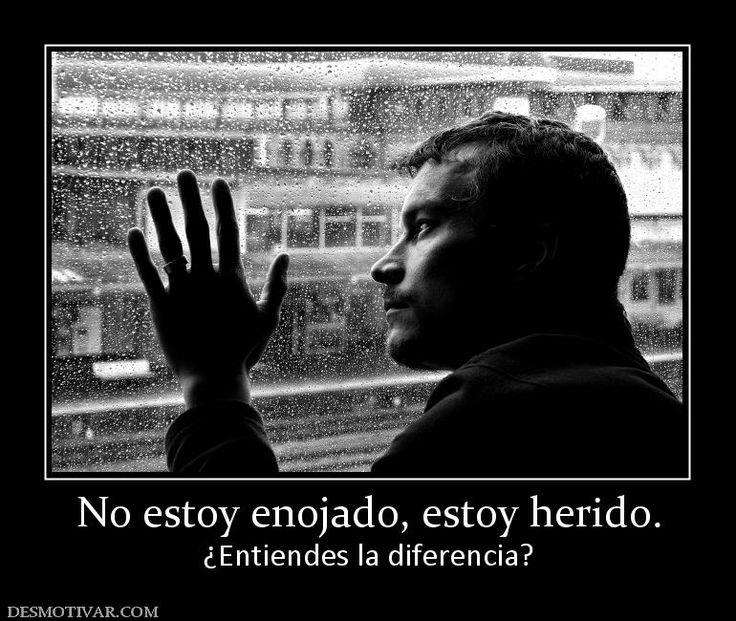 No estoy enojado, estoy herido. ¿Entiendes la diferencia?