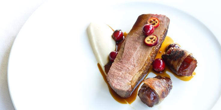 This wonderfully festive goose recipe from Adam Byatt is full of warming winter flavour, from the bacon-wrapped dates to the star anise seasoning that the goose breast is rubbed in before cooking.