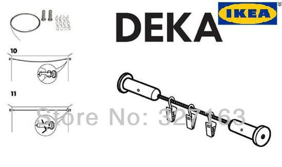NEW IKEA DEKA DIY CURTAIN ROD WIRE + CLIPS HANGING SYSTEM ROOM DIVIDER FREE SHIPPING-in Curtain Poles, Tracks & Accessories from Home & Gard...