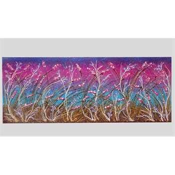 """Quadri Floreali.  """"Distesa di fiori sfumati"""" aterico acrilico su tela. Il quadro realizzato in rilievo con spatolate di colore, rappresenta un paesaggio floreale dalle tonalità sfumate. Sulle spighe sono inserite pietre di quarzo rosa e spolverate di glitter illuminano i passaggi di colore. Il quadro moderno di natura floreale, è stato realizzato in dimensioni più grandi per essere comodamente inserito in un soggiorno, magari per abbellire la parete sopra un divano. Scenografico e luminoso…"""