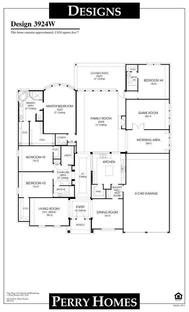 Really like this floor plan. Good use of space. Would adjust the game room/sunroom/4car garage part a bit Perry Homes