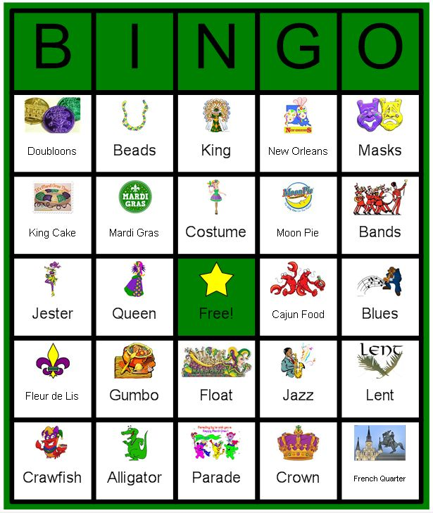 A kid friend Mardi Gras Bingo Card.  I actually made this using the Instant Bingo Card program. You can get a FREE trial at www.instantbingocard.com/ .  All images are (c) their owners, and were found using Google search.  Please give me credit if you repost, Laurie Brenden & Brenden Designs