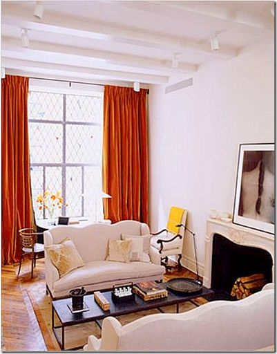 Ina Garten, Paris (orange velvet curtains)