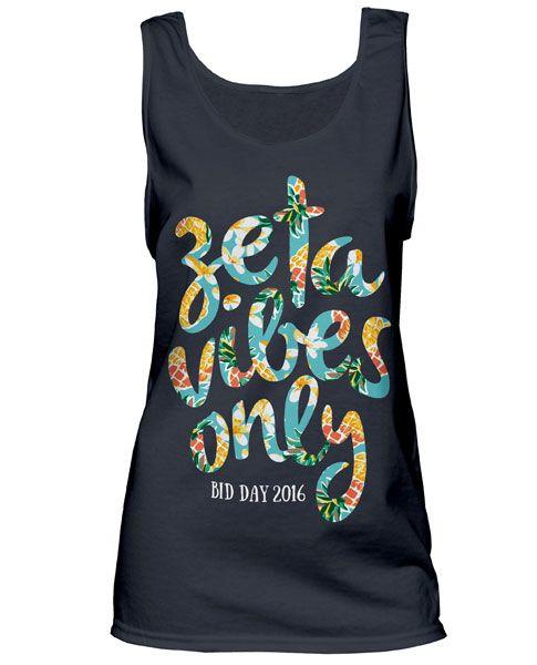 Zeta Tau Alpha Vibes Tank Top | Sorority T-shirts | Bid Day T-shirt | Greek T-shirt | Greek Life | Comfort Colors Tank Top
