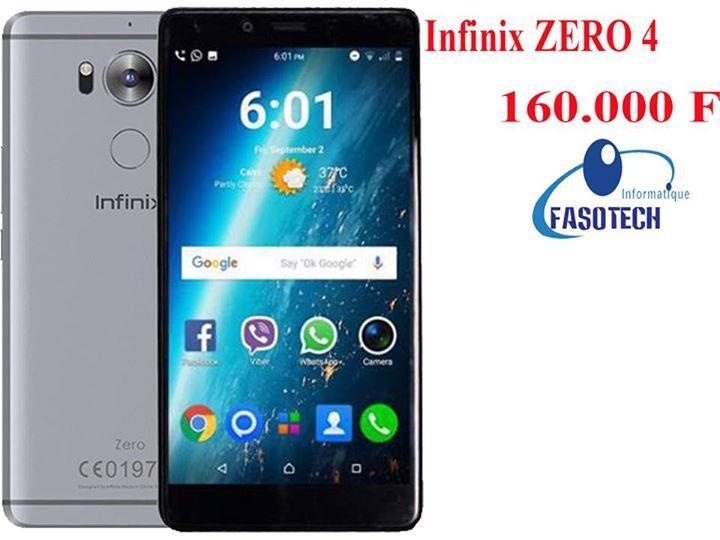 """La #Qualité au meilleur prix ! #Smartphone_Infinix! #Tel : 73737354 / 68686819 / 77777720  #Infinix_ZERO_4 #Prix : 160.000 FCFA  #Fiche_Technique : Ram 3gb, Mémoire 32gb, Octa-Core, Écran 5.5"""" Full HD, Caméra arrière 16 Mégapixel avec flash, Emprunte digital, Android 6, Batterie 3200mAh, Dual Sim.  #Site_Web : www.fasotech.fr  #Situation_Géographique : Quand vous quittez le siège de Airtel et vous prenez la route qui mène à l'aéroport, arrivez au feu de Koulouba à l'intersection où y'a la…"""