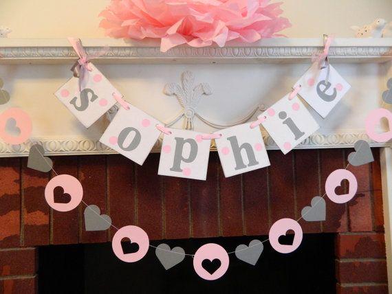Childrens nome da bandeira e 6 pés Coração Garland Set- Baby Shower decorações de berçário decoração com rosa e cinza bebê chuveiro de sua cor bem escolhida