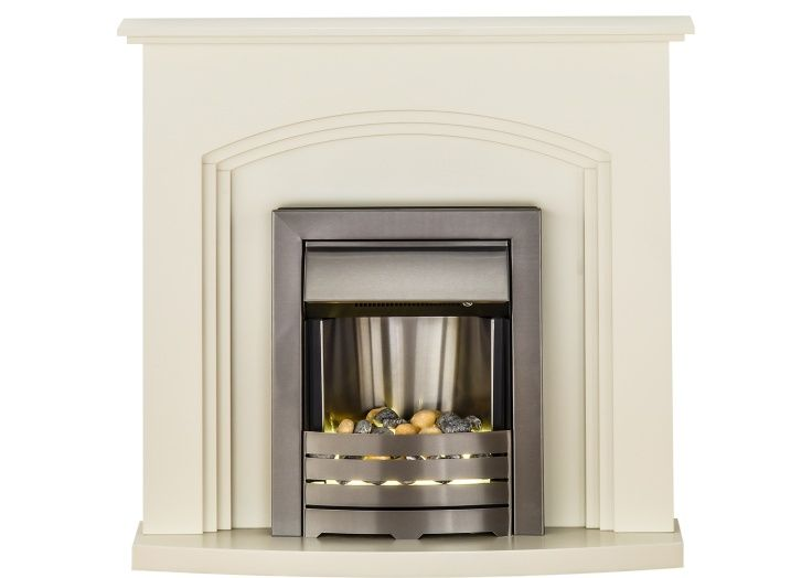 Adam Truro Fireplace Suite in Cream with Helios Electric Fire in Brushed Steel,  41 Inch | Fireplace World