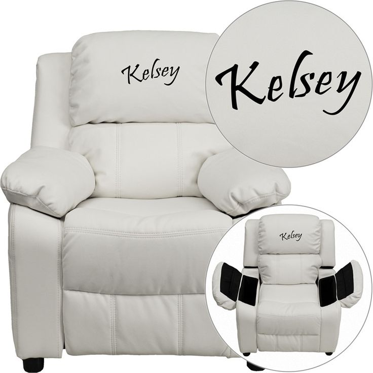Flash Furniture BT-7985-KID-WHITE-EMB-GG Personalized Deluxe Heavily  sc 1 st  Pinterest : vinyl recliner chairs - islam-shia.org