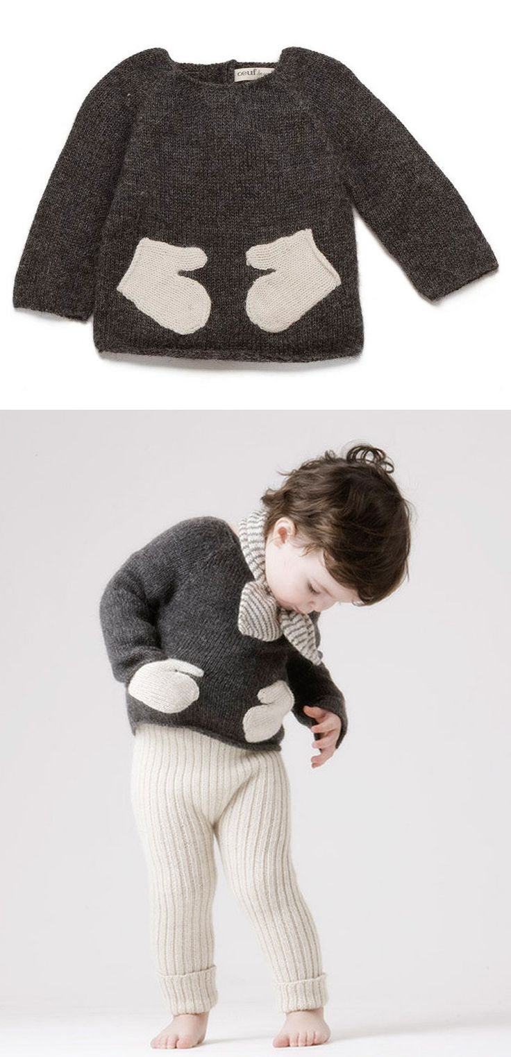 sweater with mitten pockets -- Oeuf NYC. (I so love a little girl with short hair)