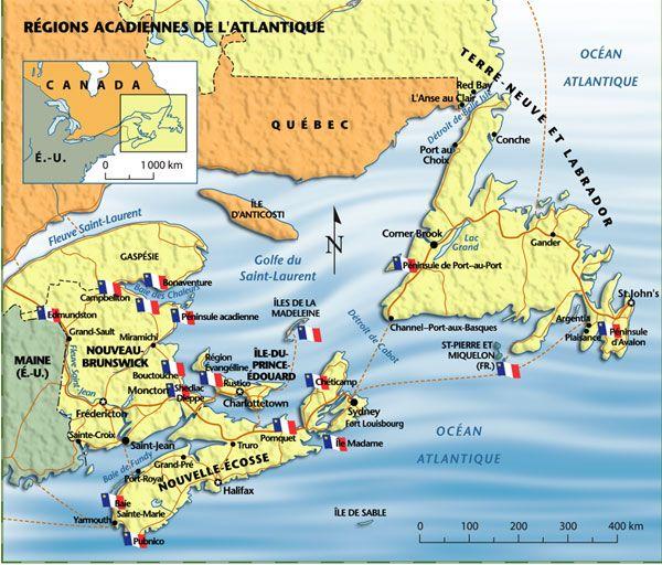 Il était une fois l'Acadie. Cette carte contemporaine montre le territoire occupé par les Acadiens (Français) avant 1755, date de la déportation (génocide?) de ce peuple. Aujourd'hui,  ce qui reste des Acadiens se trouve surtout dans les provinces atlantiques canadiennes et au Québec.