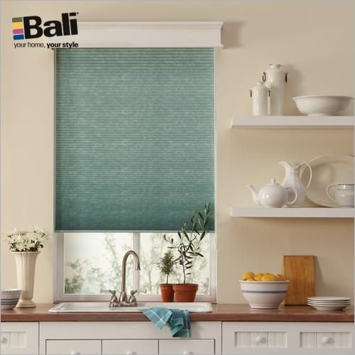 """Bali DiamondCell 3/8"""" Double Cell Shade in Storm Waterfall. This sleek window shade has a thin line headrail and is offered in distinctive fabrics that are rich in texture."""