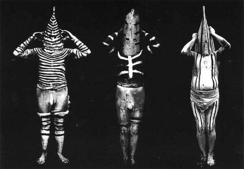 The Selk'nam people or Ona's from Tirerra del Fuego, a group of Islands now belonging to Argentina. The Selk'nam are now extinct. Body paint was a essential part of daily life, designs used for hunting, combats, peace meetings and shamanistic performaces.