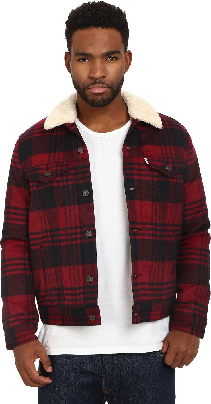 levi 39 s mens sherpa trucker jacket red tibetan plaid gift ideas pinterest levis plaid and. Black Bedroom Furniture Sets. Home Design Ideas