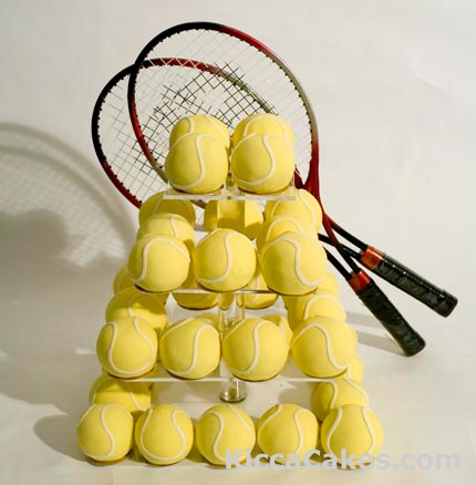 This Cake made of Mini Tennis Balls would be a perfect birthday cake for anyone who loves tennis. It would also be perfect for an end of season party held by a tennis team! #alta #usta #tennisteam