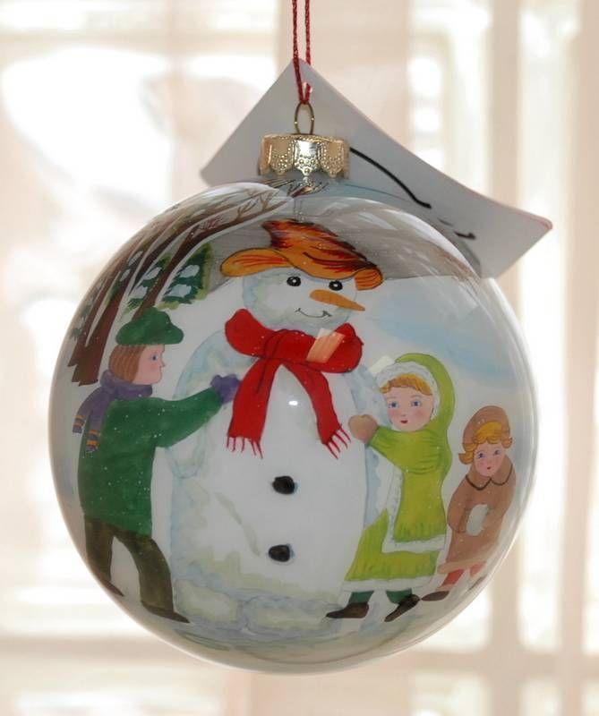 "FIGI Inside Art Mouth Blown Glass Christmas Ornament ""BUILDING A SNOWMAN"" NIB"