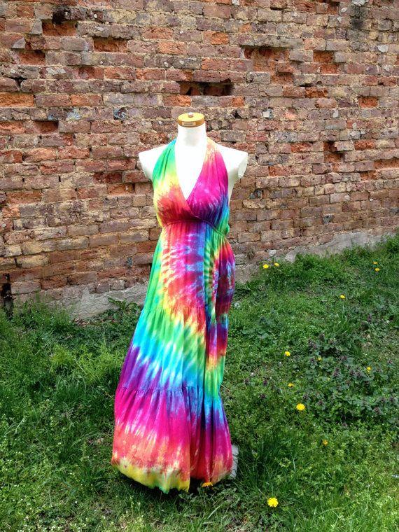 Rainbow Tie-dye Maxi Dress, Women's Sizes XS-M