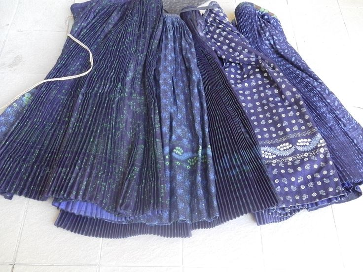 Vintage Slovakian Indigo block printed skirts parna.co.uk