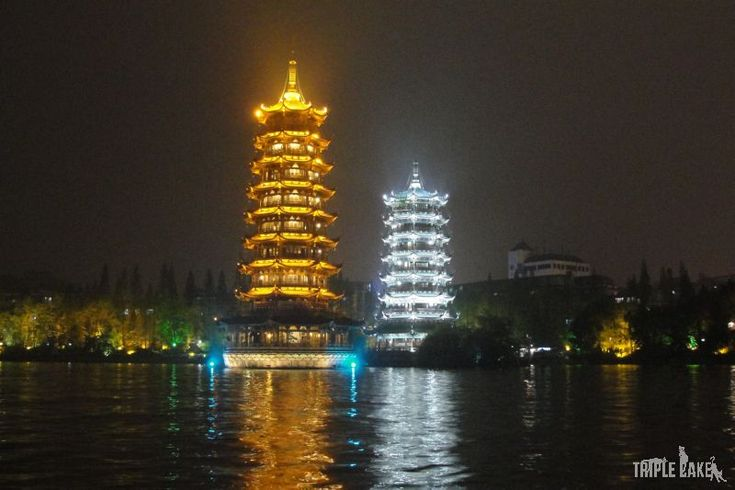 Twin Pagodas, Guilin  #China #Guilin