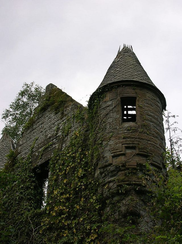 10 Abandoned Manor Houses and Baronial Mansions of Scotland  The years after the war weren't kind to the main house. Parts of the estate were demolished, and the removal of the roof in 1954 has left the interior open to the elements for decades. While the exterior of the estate remains somewhat sound, the ground are overgrown and slowly being reclaimed by nature. There has been a series of attempts to demolish the home and replace it with a block of flats.