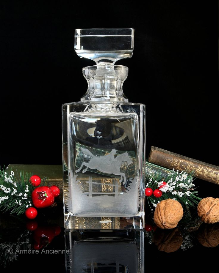 Vintage 3.9 Lbs Crystal Decanter for Whiskey, Cognawc, Bourbon / Square, Etched Equestrian Decor http://etsy.me/2mscW6f