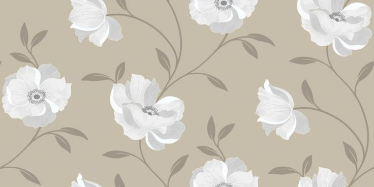 Sophia Motif Stone (614701) - Arthouse Wallpapers - A pretty floral design with simple detail - showing in white flower heads on a stone background. other colour ways available. Please request a sample for true colour match.