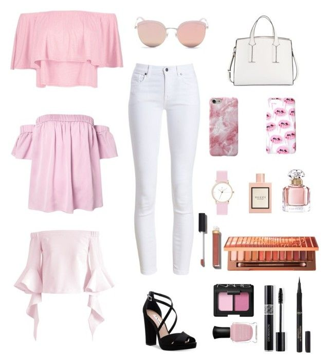 """Pink x White x Black"" by livfanllya on Polyvore featuring Barbour, Boohoo, Milly, French Connection, Nina, Chicwish, Stephane + Christian, Laruze, Gucci and Guerlain"