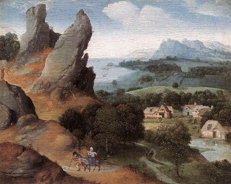 "Joachim Patinir ""Landscape with the Flight Into Egypt"", 1524 (Flanders, Northern Renaissance, 16th cent.)"