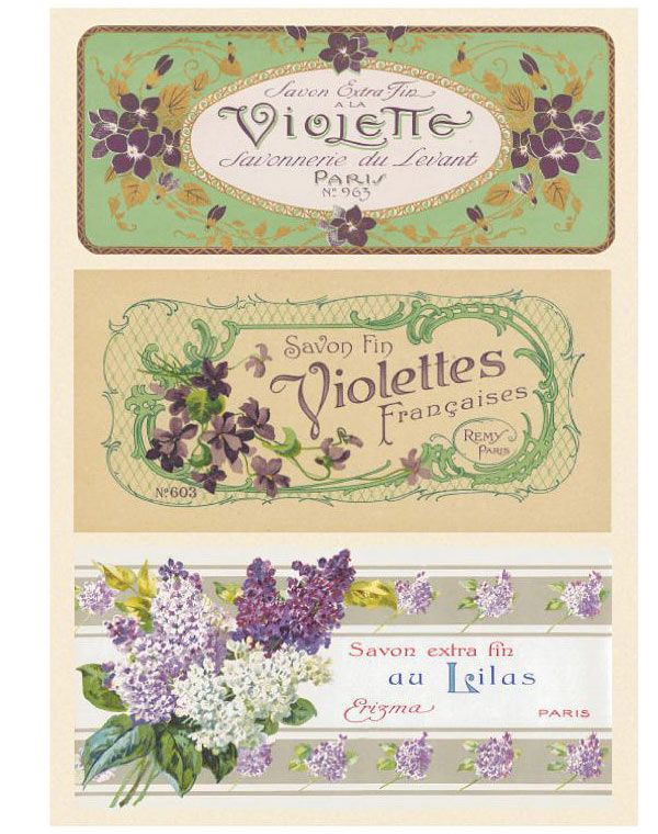 Fancy French soap labels for lady's toilette | Source: Ruffled Blog