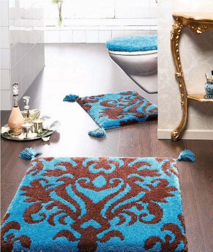 Blue Colored Large Bathroom Rugs For Modern Interiorblue Interior