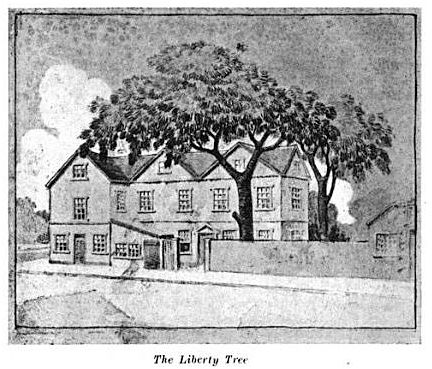 "Liberty Tree, illustration published in A. W. Mann's ""Walks & Talks About Historic Boston,"" circa 1917. #americanrevolution #bostonhistory"