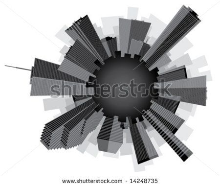 Black and white stylized circular city skyline.  Vector illustration. by UberGiant, via ShutterStock