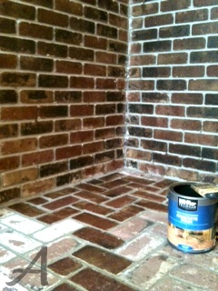 brick make over with concrete stain. Pinning this in case I ever need it for the future