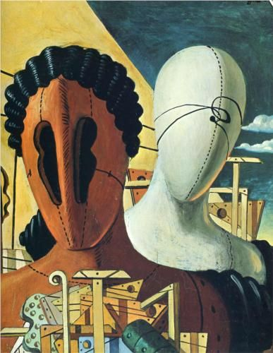 Giorgio de Chirico (1888 - 1978) | Metaphysical Art | The Two Masks - 1926