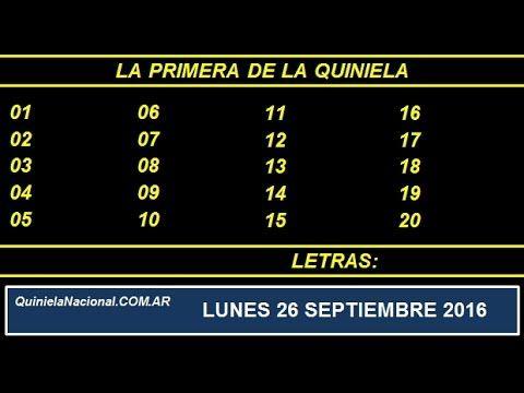 Video Quiniela Nacional La Primera Lunes 26 de Septiembre de 2016 Pizarra del sorteo desarrollado en el recinto de Loteria Nacional a las 11:30
