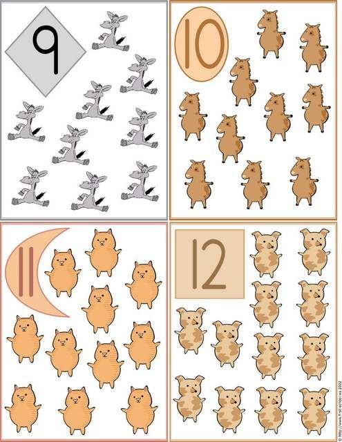 Fichas de Números do 1 ao 20 com Animais.   Aprender e Brincar