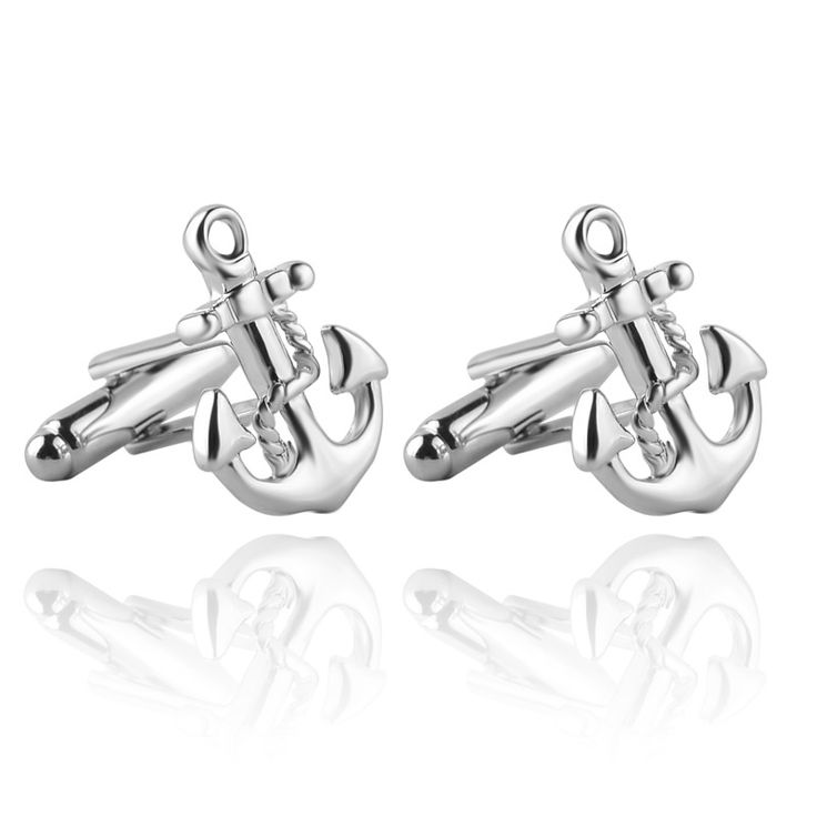Silver navigation Style Luxury Anchor Cuff Links for Shirts Sleeve Gift Brand Shirt Buttons Cuff Links For Men's Jewelry Gift