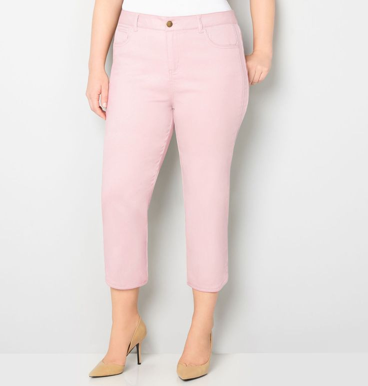 Butter Denim Capri with Tulip Slit (Soft Pink)Butter Denim Capri with Tulip Slit (Soft Pink),
