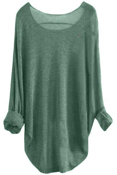 Chic Scoop Neck Asymmetrical Long Sleeve Sweater For Women